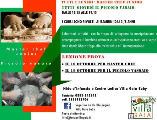 """CORSI IN PARTENZA: """"Master Chef Junior"""" e """"Piccolo Vasaio"""""""