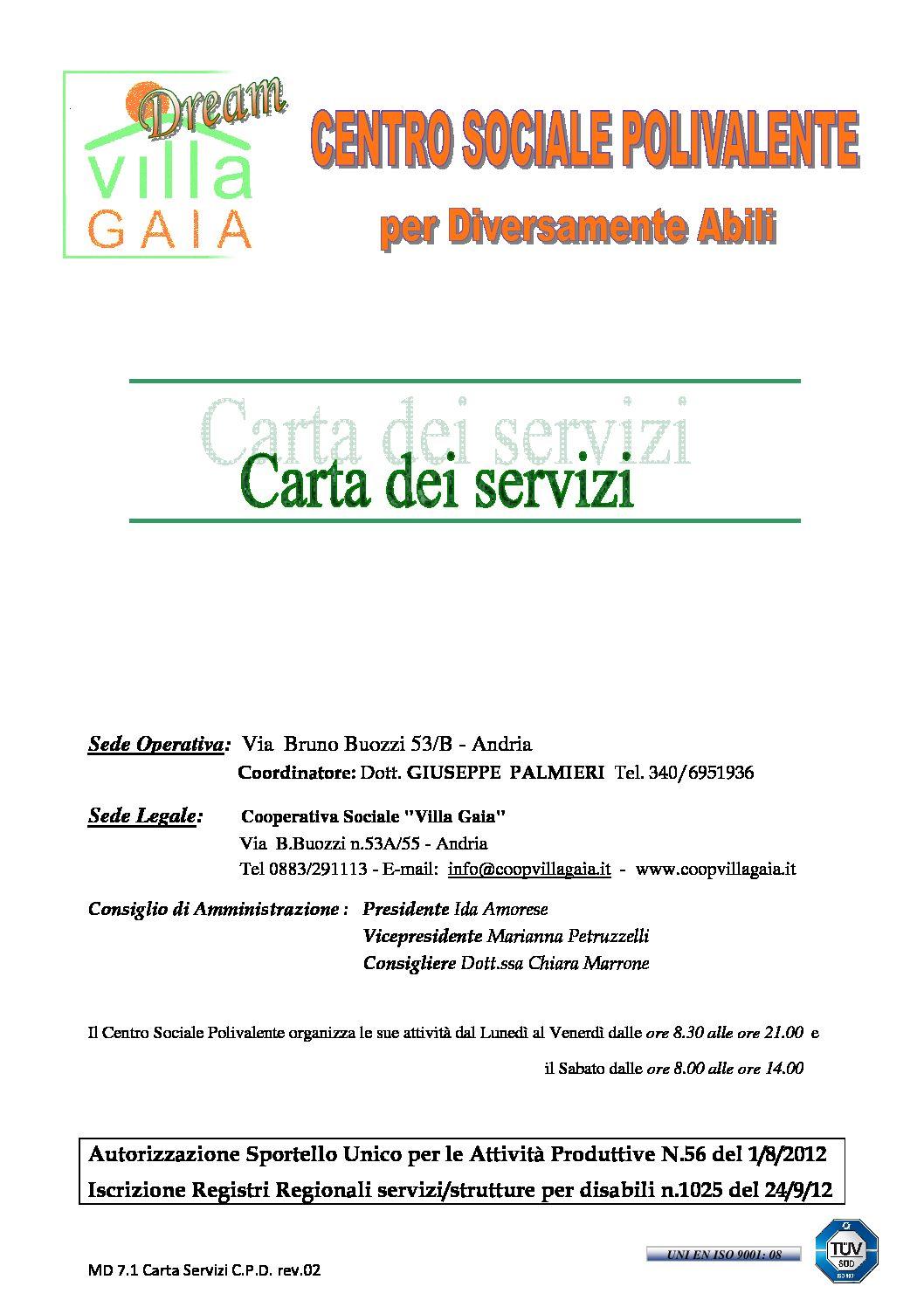 villa gaia dream carta servizi